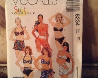 McCall's 8234 size 12, 14, 16  Misses' Two-Piece Swimsuit and Sarong 1996 UnCut