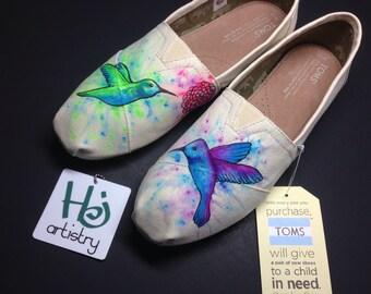 Watercolor Splatter Toms/Vans. Hummingbird Watercolor Splatter Shoes. Hummingbird Shoes