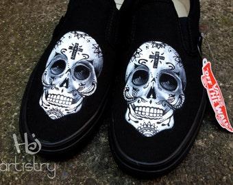 Sugar Skull Vans, Sugar Skull Toms. Day of the Dead Shoes.  Sugar Skull Converse . Calavera Shoes. Sugar Skulls.