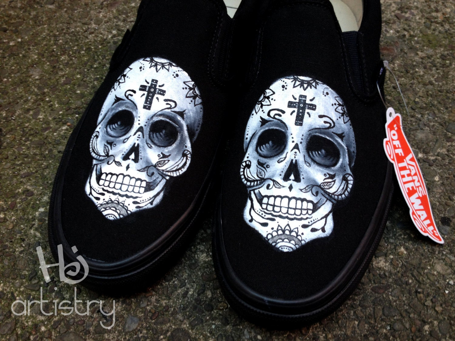 Day of the Dead Sugar Skull Shoes Vans Toms or Converse High