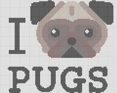 I Love Pugs Cross Stitch Pattern Easy Beginner Pattern PDF