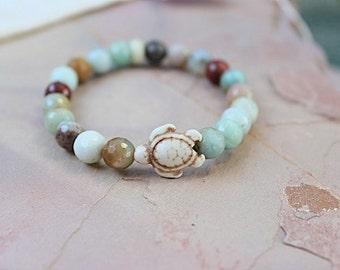 Chakra bracelet-Turtle bracelet-Meditation-Gift-Yoga gift-Gemstone Jewelry