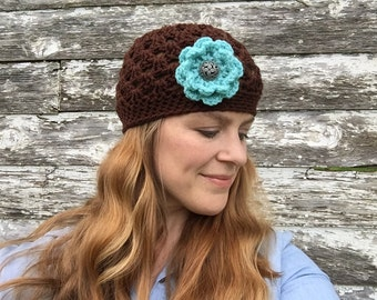 Ready to Ship - Chocolate Brown Women's Beanie with Three Interchangeable Flowers - Brown Crocheted Hat with Three Flowers - Hat for Her