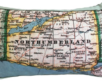 Northumberland Vintage Map Pillow - FREE SHIPPING