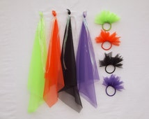 Ponytail Pouf or Dancing Scarf Available in Lime Green, Orange, Black or Purple