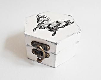 FREE SHIPPING, Wedding antique white ring bearer box / pillow, Wooden ring box, Pillow alternative, Wedding keepsake box,Memory box,Card box