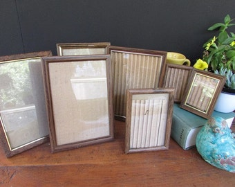 Faux Wood Frames Vintage Frame Collection of 7 Metal Wood Finish  Mixed Sizes