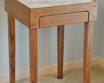 Red Oak Side Table with tile top