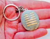 I Ching Prosperity Symbol on Green Aventurine Keychain Attract Good Fortune, Money, Success!