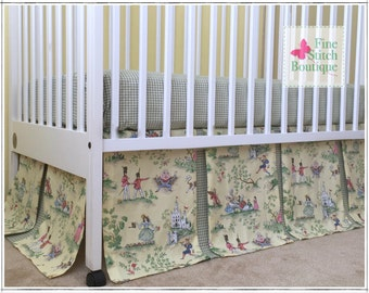 Yellow Over the Moon Toile BOX PLEATED Crib Skirt - Nursery Rhyme Toile Crib Skirt - Nursery Rhyme Dust Ruffle - Made-to-Order