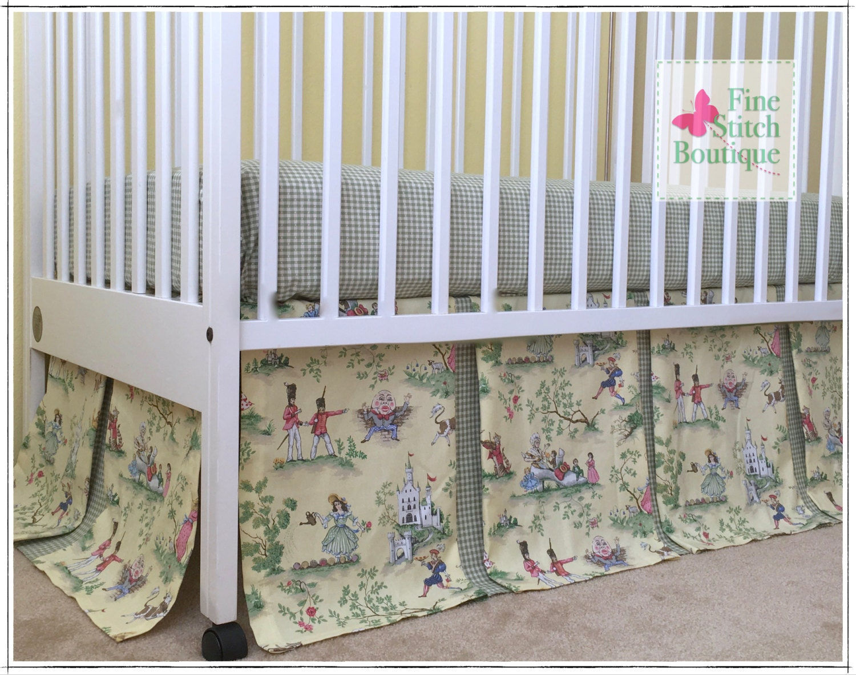 yellow the moon toile box pleated crib skirt nursery
