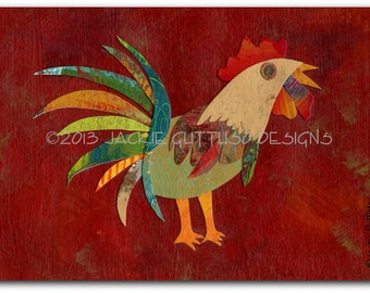 "Rooster art, Kitchen art, Chicken collage 5 x 7"" archival print, Dining room art, Farm animal nursery, Rooster painting print, Rooster decor"