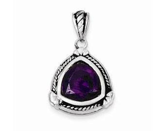 Sterling Silver Purple CZ Pendant