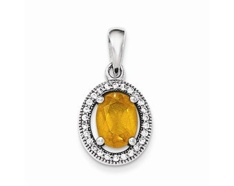 Sterling Silver w/ Yellow and White CZ Oval Pendant