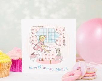 "SUMMER SALE Personalised Girls Birthday Card, Personalized Girls Birthday Card  ""Tea Party"""