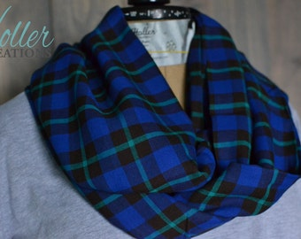 Blue Plaid Infinity Scarf, Tartan Scarf, Gift for her, Circle Scarf, Plaid Scarf.