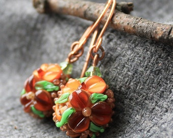 Lampwork Glass Earrings, Lampwork Autumn Earrings, Floral Lampwork Earrings, Floral Glass Earrings, Glass Earrings