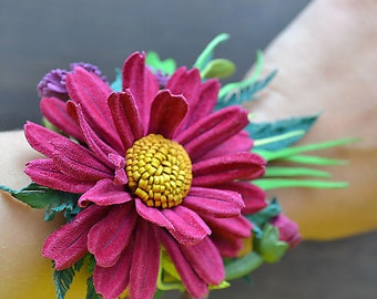 Leather Bracelet, Handmade Leather Bracelet, Leather Jewellery, Leather Cuff, Leather Flower Bracelet, Leather Cuff Bracelet, Flower Cuff