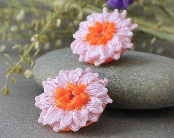 Glass Lampwork Beads - 2 pc Handmade Glass Flowers Beads for Earrings, Sculpted Beads, Floral Lampwork, Lampwork Flower Beads, SRA Beads