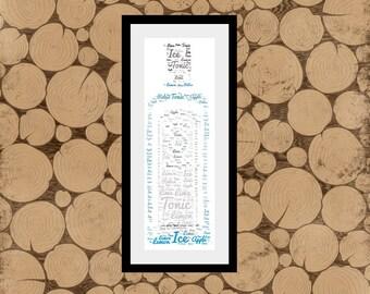 Gin Word Art, Personalised Gin Print, Gin Word Cloud, Personalised Gin Bottle, Gin Bottle Print, Gin Word Collage, Gin Print, Gin Wordle.