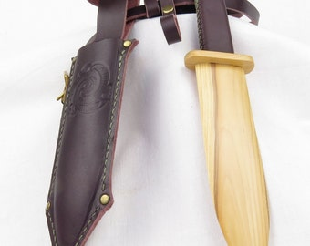 wooden play dagger and belt