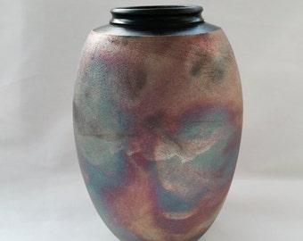 Raku Smoked fired Vase