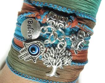 Hamsa Bohemian Silk Wrap Bracelet Tree Of life jewelry Elephant Boho Wrap Bracelet Spiritual Yoga Jewelry Birthday Unique Gift For Her