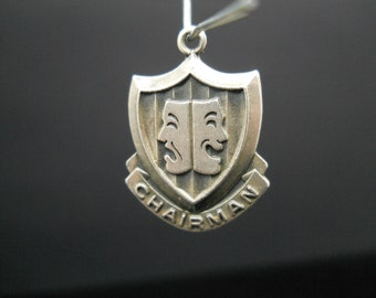 ABWA Chairman Charm Sterling Silver American Business Womens Association Shield Theater Mask Chair 925 Vintage