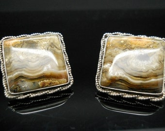 Sterling Cufflinks Large Square Picture Jasper Pivot Toggle Silver 925 Stone Cuff Links Mid Century Jewelry Mens Accessories