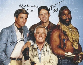 The A Team Original poster signed all 4 8X10 photo picture autograph RP 3