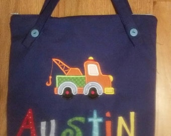 Small Personalized Kids Tote Bag, Zippered Tote Bag, Canvas Tote Bag, Lined Tote Bag, Tote Bag for Kids, Bookbag For Boy Ring Bearer Present