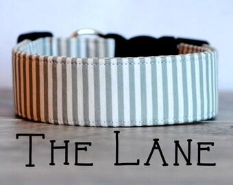 "Pretty Modern Grey & White Striped Dog Collar ""The Lane"""