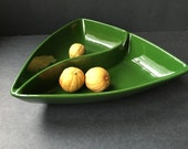 Retro Vintage Divided Relish Tray Summer Serving Bowl 1940s Glazed Ceramic Porcelain Glass Pottery Dish Dining Green