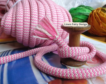 """3 meters Cotton Rope 10 mm / 0,39"""" Pink and Raw Cotton Cord With Filling for Crafts Jewellery Decorations Organic Cord"""