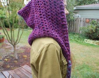 Purple Crochet Elf Hood