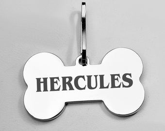 Personalized Polished Silver Bone Pet Tag Engraved FREE for dogs