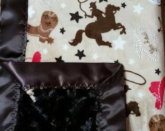 Western Blanket, Western Baby Blanket, Western Minky Baby Blanket, Western Cowboy Blanket