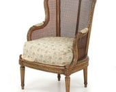 Finely Carved French Louis XVI Bergere Arm Chair Circa 1890, 1406MLO14P