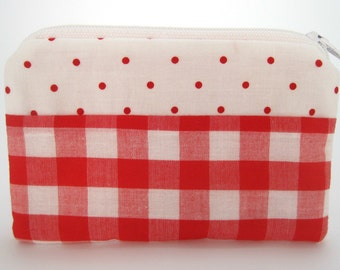 Red Polka-Dotted &  Gingham Coin Purse