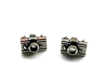 Camera Stud Earrings antique silver mini camera post earrings