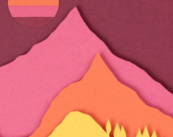 3D Paper Art Red Mountain