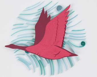 3D Layered Paper Quilling Red Goose