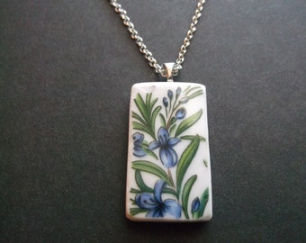 Broken China Plate Necklace - Handmade Blue Flowers necklace made from a recycled broken plate