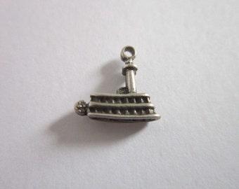 Vintage Sterling Silver  Steamboat Charm Bracelet Charm