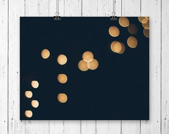 Modern Circle Wall Art Bokeh Gold Home Decor Christmas Lights Abstract Photography Minimalist Art Print Sting of Lights Gallery Wall Prints