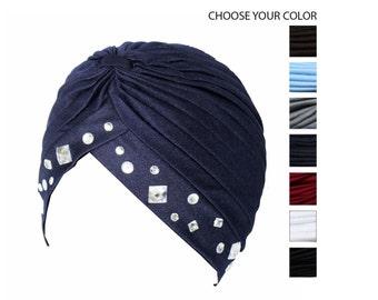Rhinestones Turban Hat Hijab Hair Wrap with Big Rhinestones