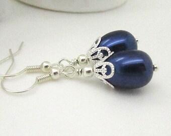 Navy Pearl Earrings, Simple Pearl Drops, Navy Bridesmaid Jewellery, Dainty Earrings, Navy Wedding Earrings, Bridal Party Gift, Pearl Dangles