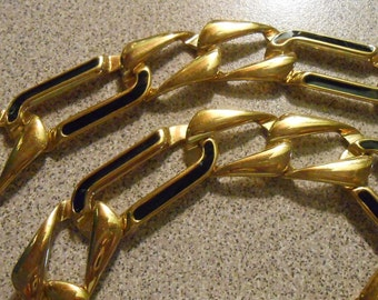 Vintage MONET Gold Tone Black Enamel Large Chain Link Necklace with Fold Over Clasp