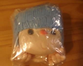 Vintage Doll Head With Blue Yarn Hair & Hands
