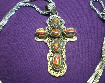 Fire Opal Necklace(comes with chain)